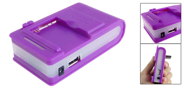 Portable USB Port Universal Cell Phone Battery Charger Purple 220V