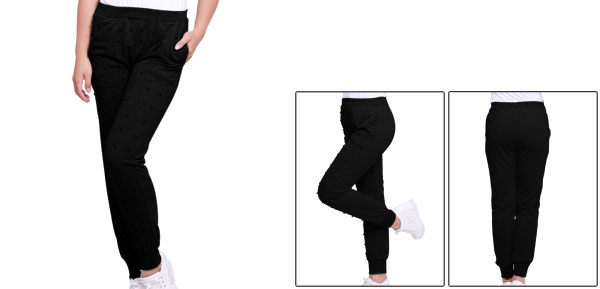 Ladies Two Pockets Plastic Beads Decor Black Long Trousers XS
