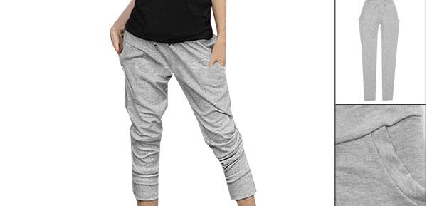 Women Drawstring Waist Light Gray Formfitting Trousers XS