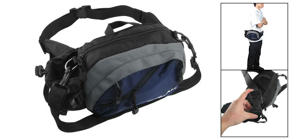 Dark Blue Zip Up Quick Release Hook Multifuction Waist Bag Pack