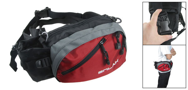Red Zip Up Quick Release Hook Multifuction Waist Bag Pack
