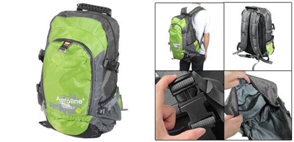 Green Gray Adjustable Wide Shoulder Strap Hiking Bag Backpack