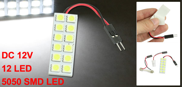 Vehicle Car White 12 5050 SMD LED Light Panel Bulb+T10+Festoon Adapter