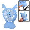 Blue Plastic White Foam Blades Batteries USB Powered Button Fan