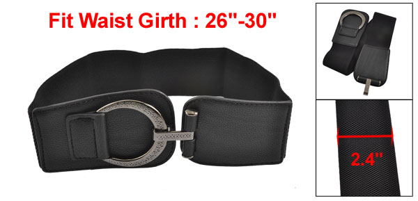 Woman Hook Buckle Faux Leather Elastic 6cm Wide Band Belt Black