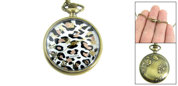 Metal Lobster Clasp Necklace Pocket Watch Bronze Tone for Lady