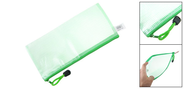 230x110mm A6 File Document Zip Up Holder Bag Green