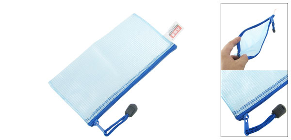 190 x100mm A6 File Document Zip Up Holder Storage Bag Pocket Organizer Blue