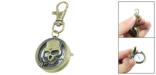 Bronze Tone People Ghost Head Shaped Lobster Clasp Key Ring Analog Quartz Watch