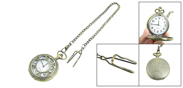 White Dial Flower Pattern Round Cover Bronze Tone Chain Clip Pocket Watch