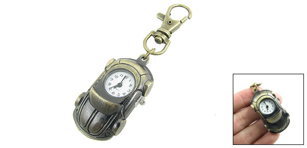 Metal Bronze Tone Car Shaped Lobster Clasp Key Ring Analog Quartz Watch