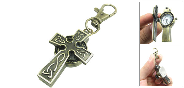 Antique Style Cross Shaped Lobster Clasp Key Ring Analog Quartz Watch