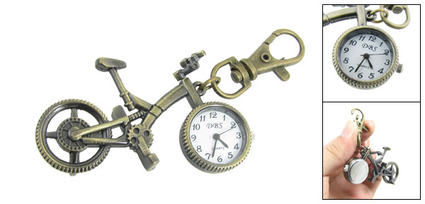 Metal Bronze Tone Bike Style Lobster Clasp Key Ring Analog Quartz Watch