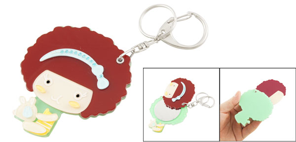 Red Curly Hair Girl Design Plastic Cover Cosmetic Mirror Keyring Key Chain