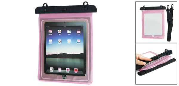 Plastic Water Resistant Bag Pouch Fuchsia w Shoulder Strap for Tablet PC