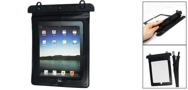 Sports Black Plastic Water Resistant Bag Holder + Shoulder Strap for iPad