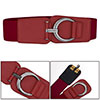 Woman Metal D Ring Hook Buckle Red Elastic Band Cinch Belt