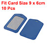 10 Pcs Blue Faux Leather Vertical Name Card ID Badge Holder Protector