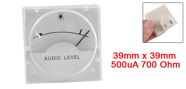 Analog Soundbox Audio Level Header VU Meter 39mm x 39mm 500uA 700 Ohm