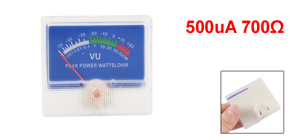 500uA 700 Ohm 50mm x 55mm Analog Audio Level Panel Meter VU Header Blue