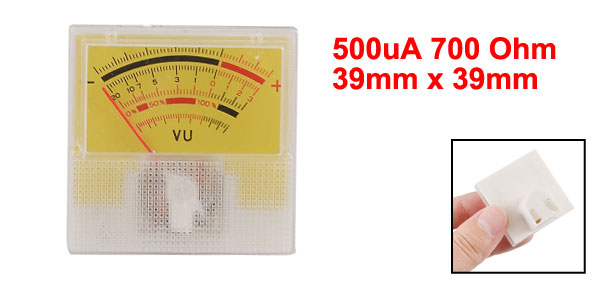 500uA 700 Ohm 39mm x 39mm Analog Audio Amp Electronic Valve VU Meter Yellow