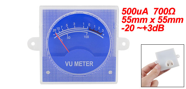 No Light Square 500uA 700 Ohm 55mm x 55mm Panel VU Meter Blue
