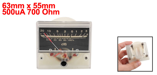Square 63mm x 55mm Full Scale Wattmeter VU Meter 500uA 700 Ohm No Light