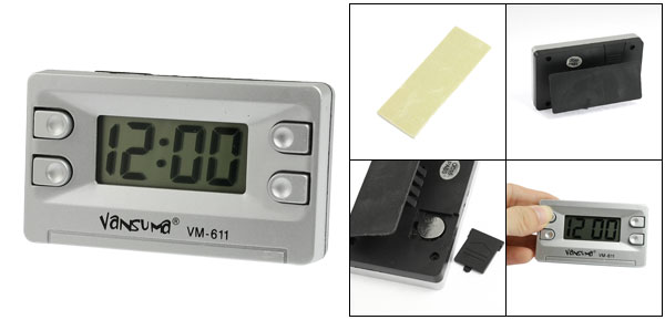 Silver Tone Black Plastic Shell Bracket Stand Digital Clock for Car Auto