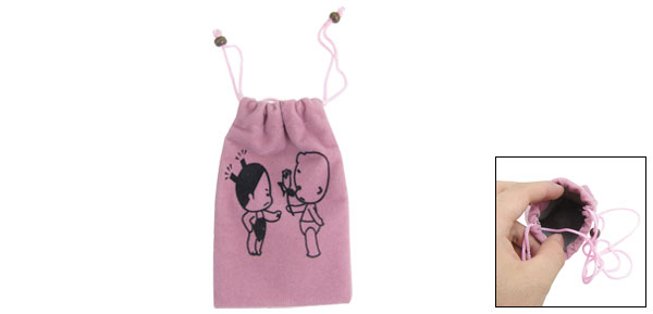 Dark Pink Flannel Top Entry Style Drawstring Closure Bag for Phone MP3