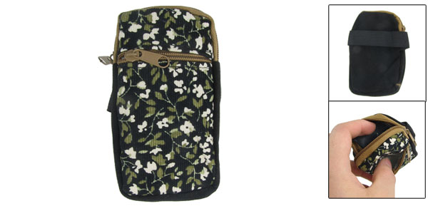 Black Green Floral Detail Zip Closure Cellphone Wrist Bag