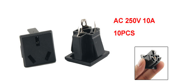 10 x AC 250V 10A 3 Terminals AU 3 Pin Power Socket Connector Black