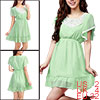 Ladies Scoop Neck Lace Detail Sleeves Light Green Chiffon Mini Dr...