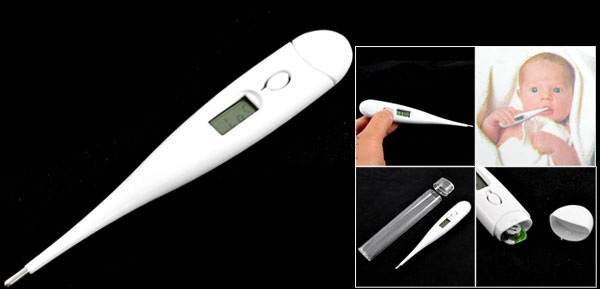 White Plastic Shell LCD Display Compact Digital Thermometer 32-44 Celsius
