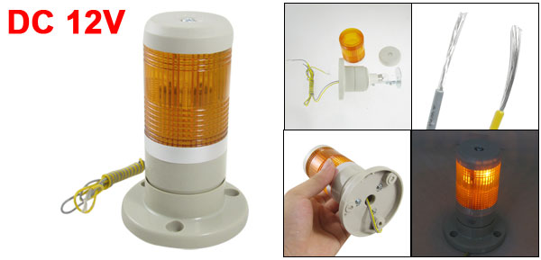 12V DC Industrial Yellow Signal Tower Warning Lamp Stack Light