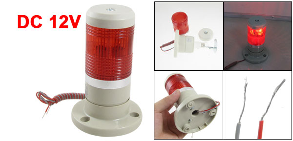 12V DC Red Signal Tower Industrial Warning Lamp Stack Light