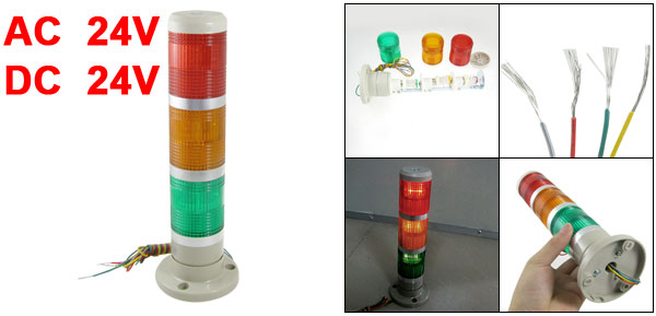 24V AC/DC Red Yellow Green LED Signal Industrial Tower Warning Lamp Stack Light