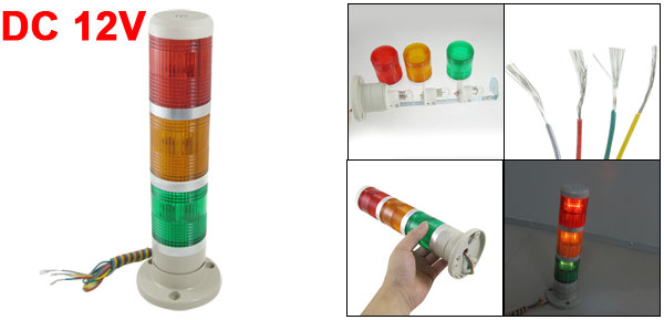 Industrial 12V DC Red Yellow Green Signal Tower Warning Lamp Stack Light