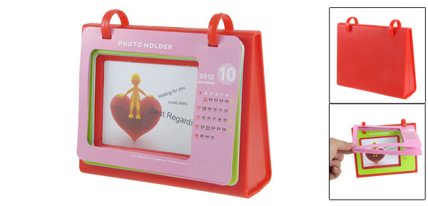 Office Desk Red Plastic Table Calendar Picture Photo Holder