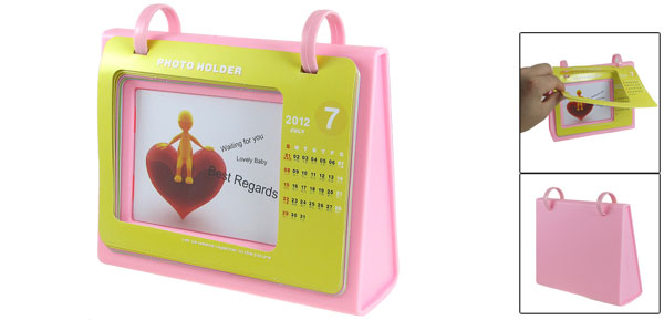Bookshelf Wide Based Table Calendar Photo Frame Holder Pink