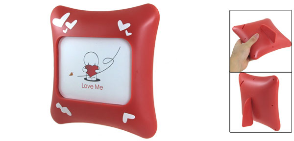 Office Desk White Heart Print Pillow Picture Photos Frame Red