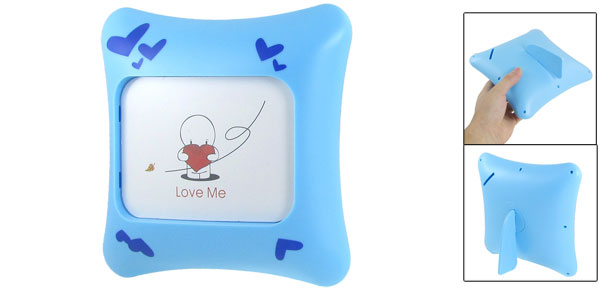Tabletop Decor Sky Blue Plastic Pillow Shaped Photo Frame