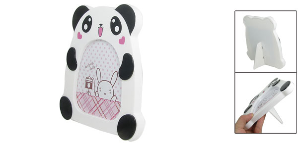 White Black Panda Shaped Clear Cover Bookshelf Adorn Photo Frame