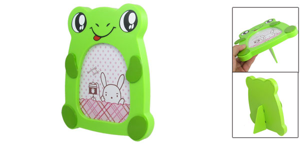 Home Decor Strut Back Green Plastic Cute Frog Desk Photo Frame