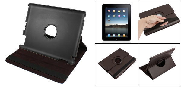 Coffee Color Lychee Print Faux Leather Case Cover for Apple iPad X8