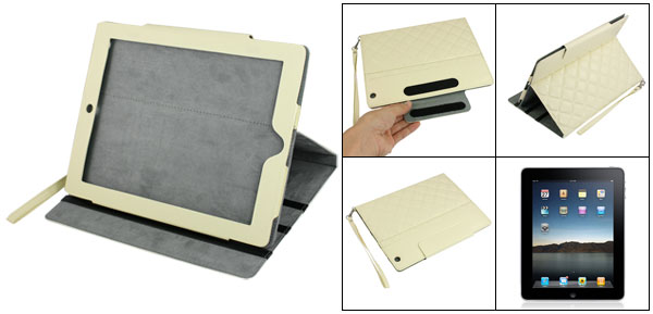 Beige Plaid Pattern Faux Leather Case Cover for Apple iPad C-203