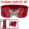 Woman Metal Butterfly Interlocking Buckle Red Textured Stretchy W...