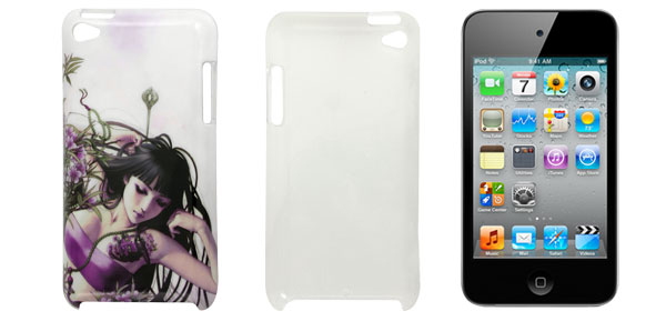 White Flowers Girl Prints IMD Shell Back Case for iPod Touch 4