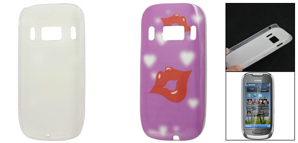 Purple Red Lip Prints IMD Back Shell Case for Nokia C7