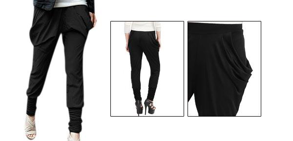 Women Black 2 Pockets Elastic Waist Cropped Harem Pants Trousers S