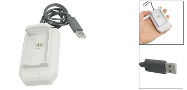 White Battery Charger Dock Connect USB Cable for XBOX 360 Wireless Controller